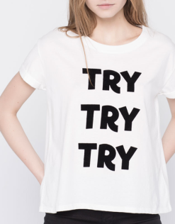 Le t-shirt de la 89ème minute – T-shirt «Try, try, try» Pull&Baer, 12,90chf
